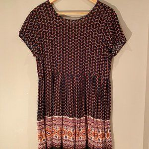 Urban Outfitters Floral Dress, Lace-Up Back Size M